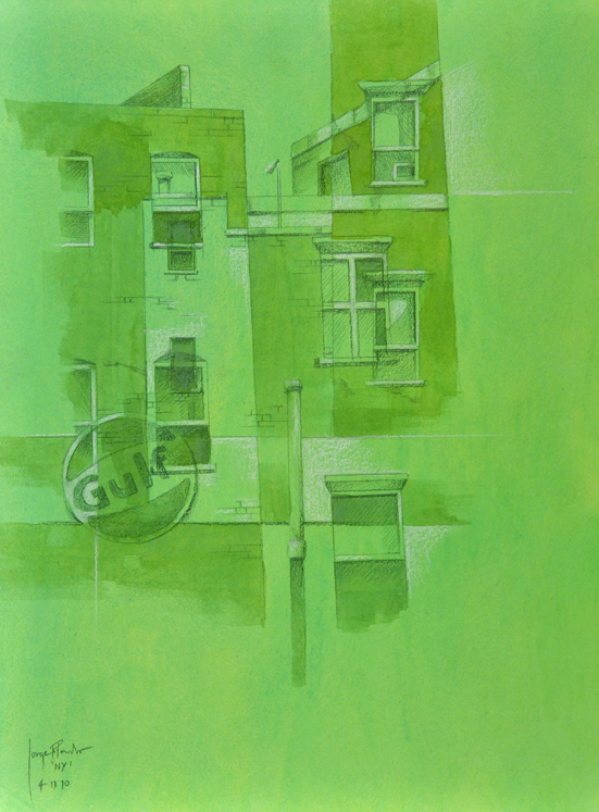 Jorge R. Pombo,NY - VI, Aquarell auf Papier