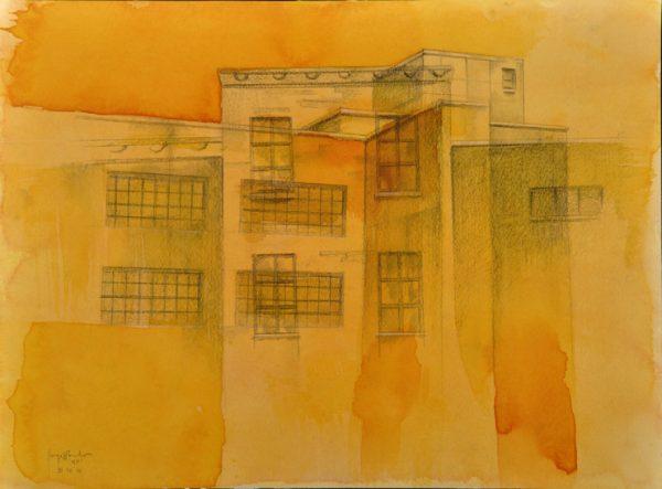Jorge R. Pombo, NY - I, Aquarell auf Papier
