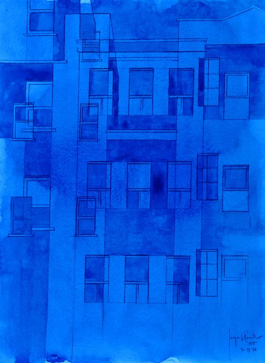 Jorge R.Pombo, NY - IX, Aquarell auf Papier